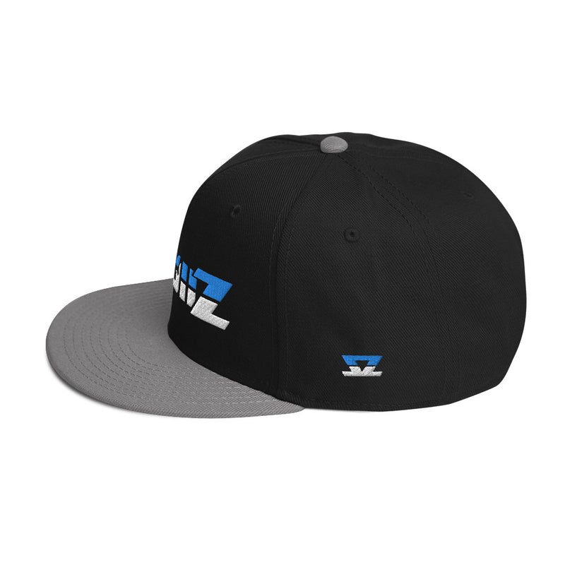 Skullz - Dark Snapback Hat Wigh Blue and White logo