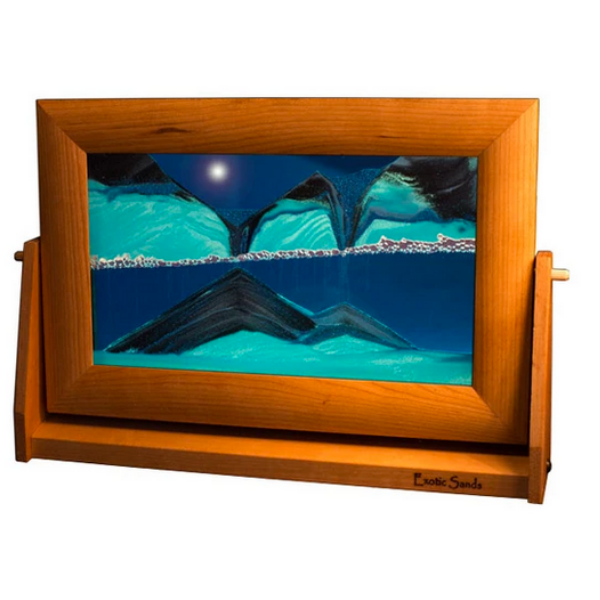 "Sandscape Large - 9"" x 12"" with Cherry Frame - Ocean"
