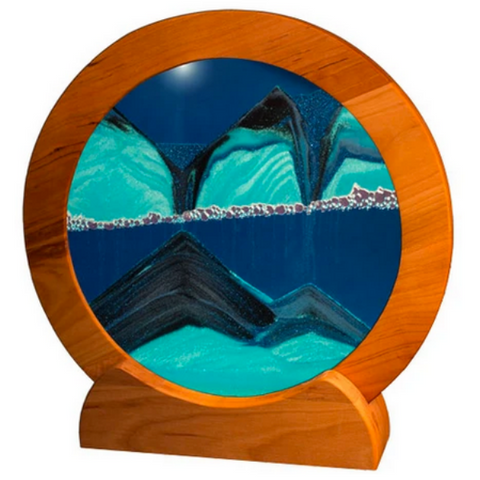 "Sandscape 11"" Circle with Cherry Wood Frame in Ocean Blue"
