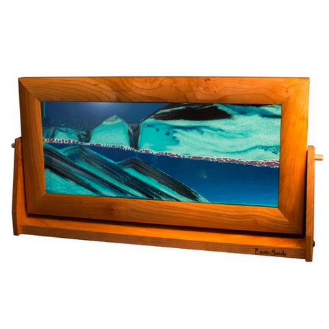 "Sandscape XL - 9"" x 16"" with Cherry Frame - Ocean"