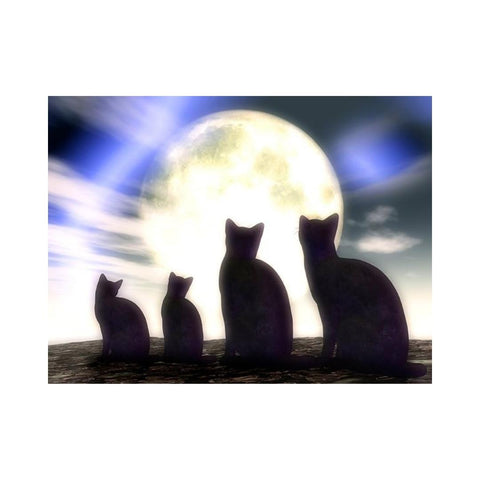 Alan Foxx CATS-Kitty Family in the Moonlight
