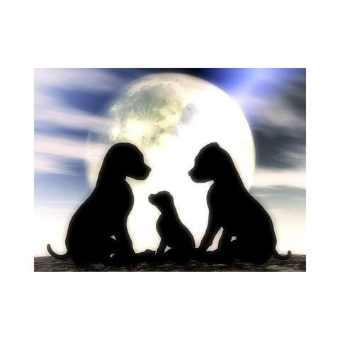Alan Foxx DOGS-Little Family in the Moonlight
