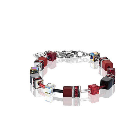 Geo Cubes & Crystals - Red, Black & Clear - Bracelet