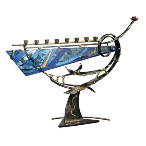 Menorah - Large Swirl with Fused Glass