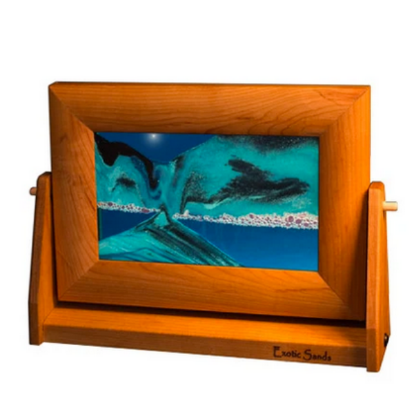 "Sandscape Small - 7"" x 9"" with Cherry Frame - Ocean"