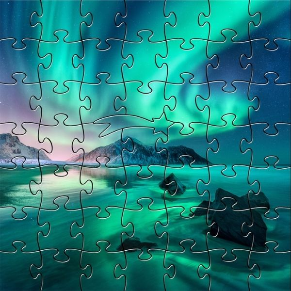 Aurora Borealis Handcrafted Wooden Puzzle - 50 pieces