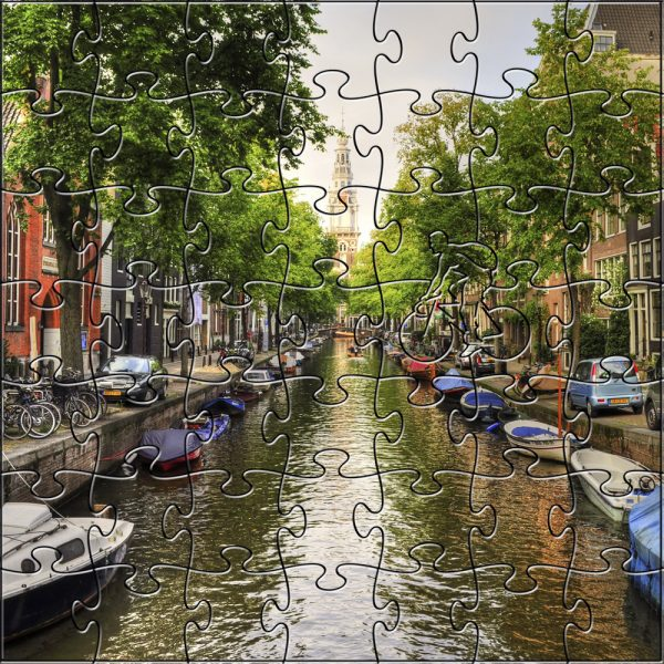 Amsterdam Canal Handcrafted Wooden Puzzle - 50 pieces