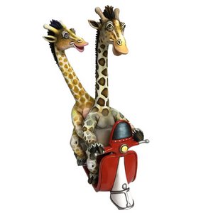 Giraffes in Love on Red Vespa by Carlos and Albert