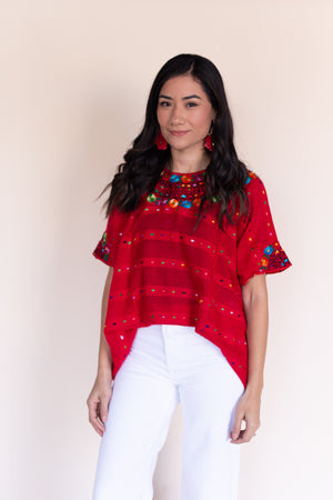 Fiesta Huipil in Crimson