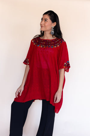 Fauna Tunic in Crimson | Red Trim