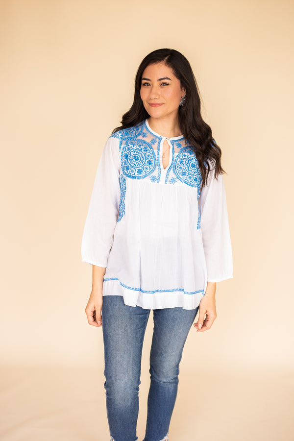 Camila Blouse in Celeste