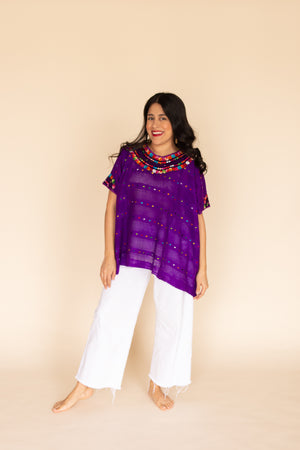 Fiesta Huipil in Plum | Solid Trim