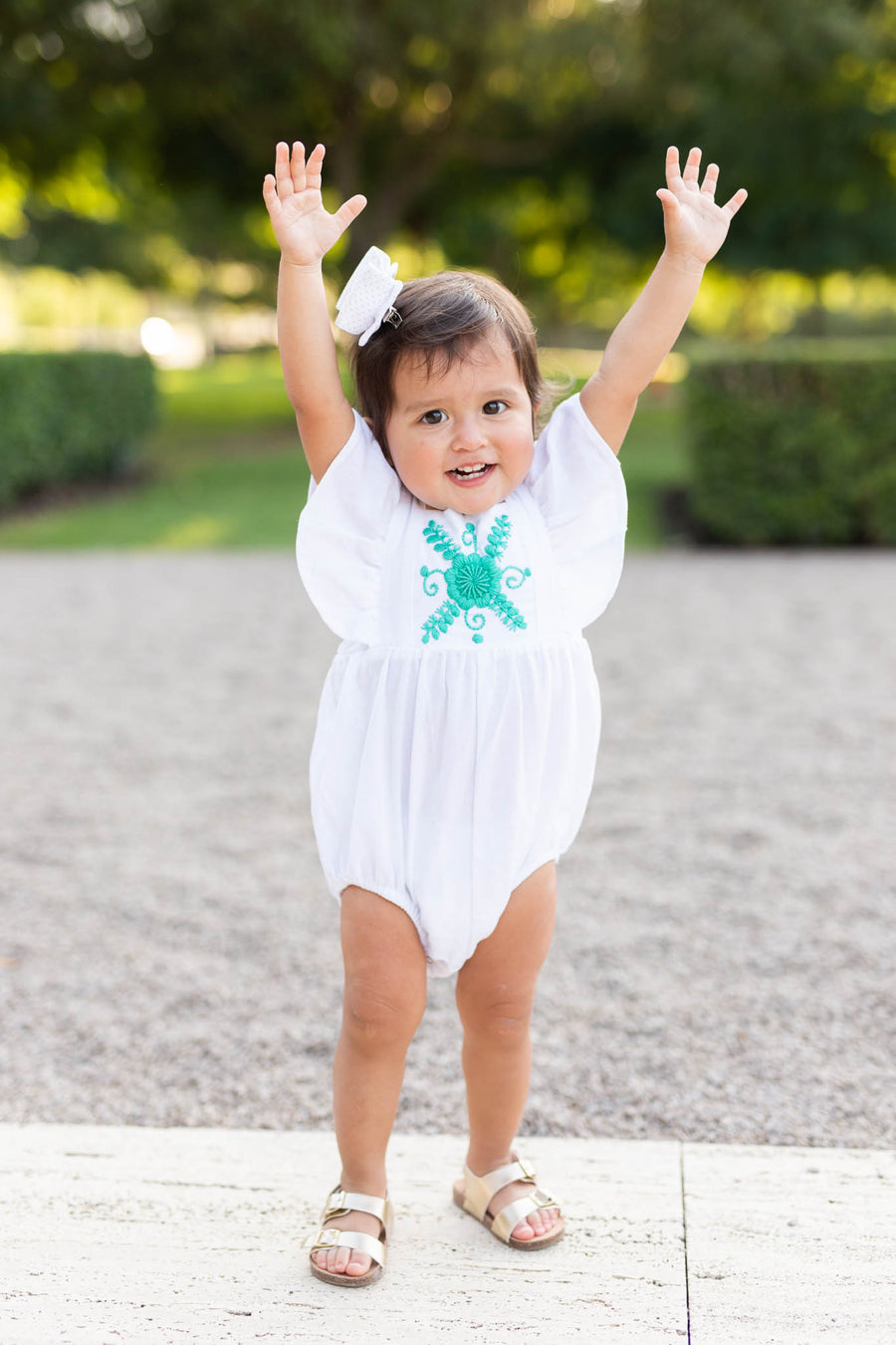 White Mexican embroidered romper baby girl