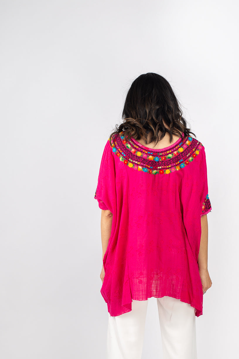 Fauna Huipil in Hot Pink