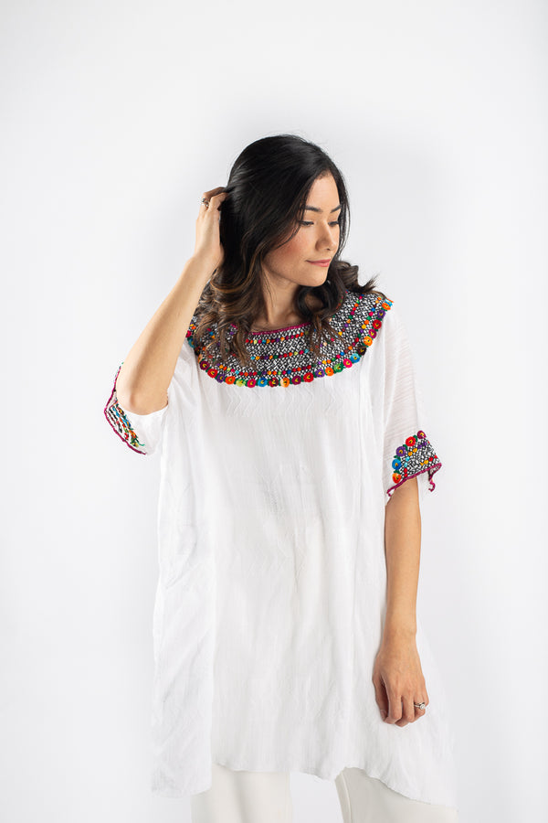 Fauna Tunic in Daisy White | Magenta Trim