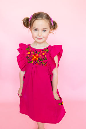 Pink Mexican Embroidered Girls Dress