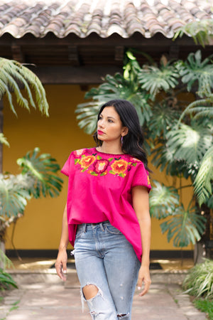 women's clothing top shirt fuchsia embroidered top