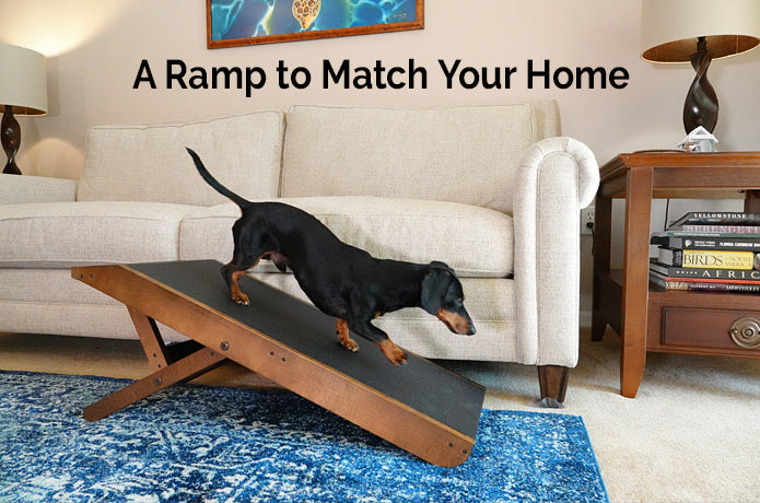 Walnut stain couch ramp for dogs