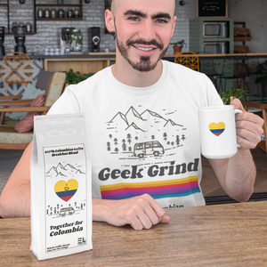 Men's Cotton T-Shirt - Geek Grind - Together For Colombia