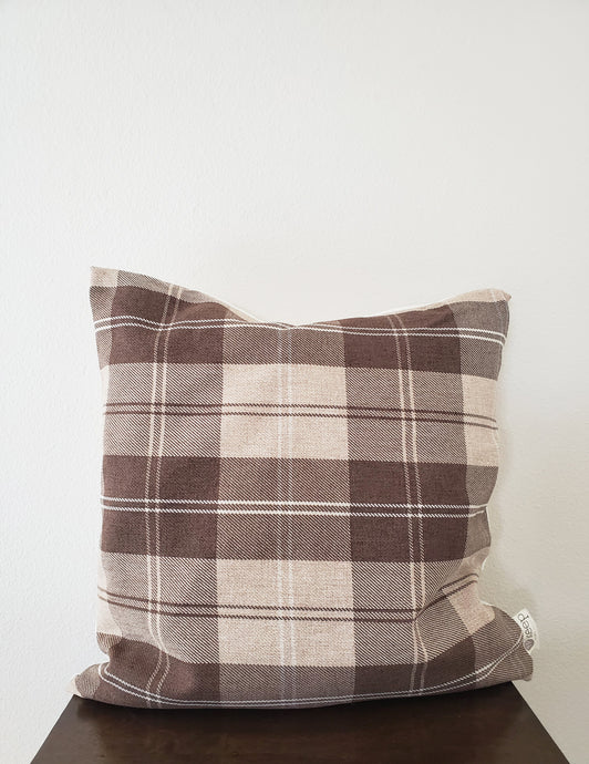 Throw Pillow Cover - Plaid Brown