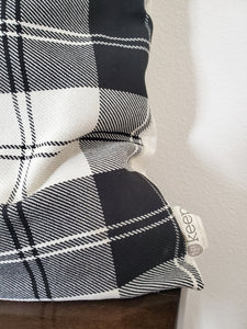 Throw Pillow Cover - Plaid B&W