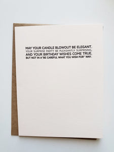 birthday: small blessing. letterpress card.