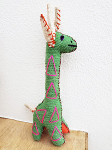 Handmade 100% Wool / Giraffe / Mexican Folk Toy (Green)