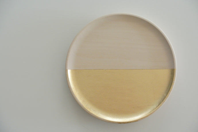 Dipped Gold Tray - Natural Wood 8