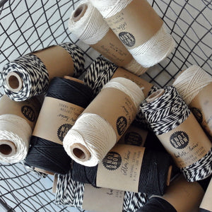 Black/Natural Cotton Twine / 100 Yds