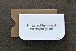 mini: that thing you wanted. letterpress card.