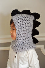 Load image into Gallery viewer, Crocheted Grey & Black Dino Scarf/Hoodie