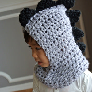 Crocheted Grey & Black Dino Scarf/Hoodie