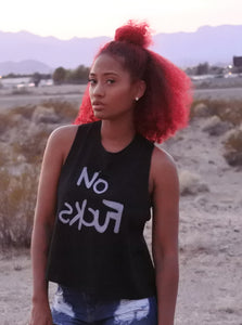 No skcuf (Black) Racerback cropped tank
