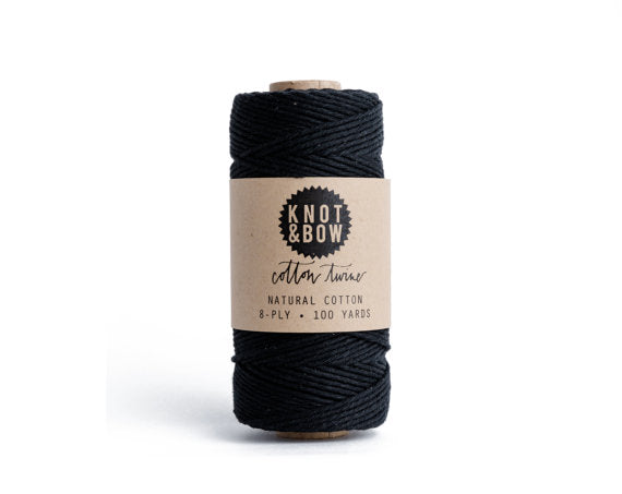 Solid Black Cotton Twine / 100 Yds