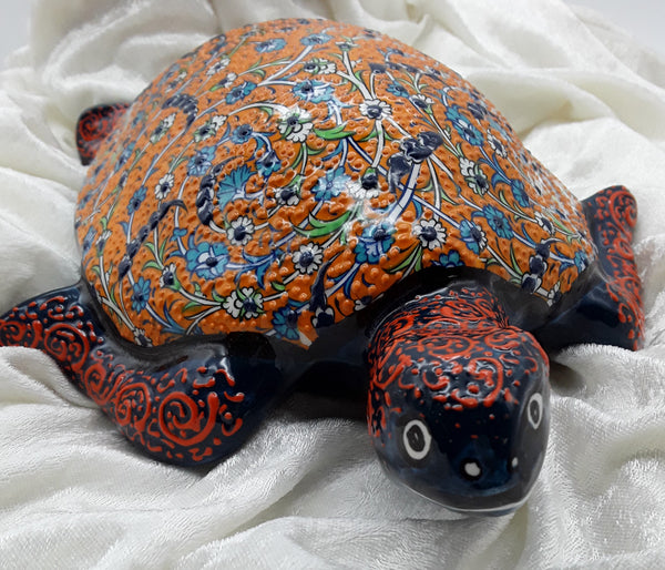 "12"" Turkish Ceramic Turtle, Hand Painted."