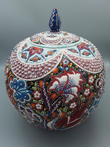 "12"" Turkish Ceramic Jar Hand Painted."