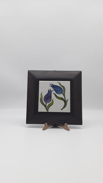 "7"" Square Wood & Turkish Ceramic Tile, Hand Painted, with hook and stand."