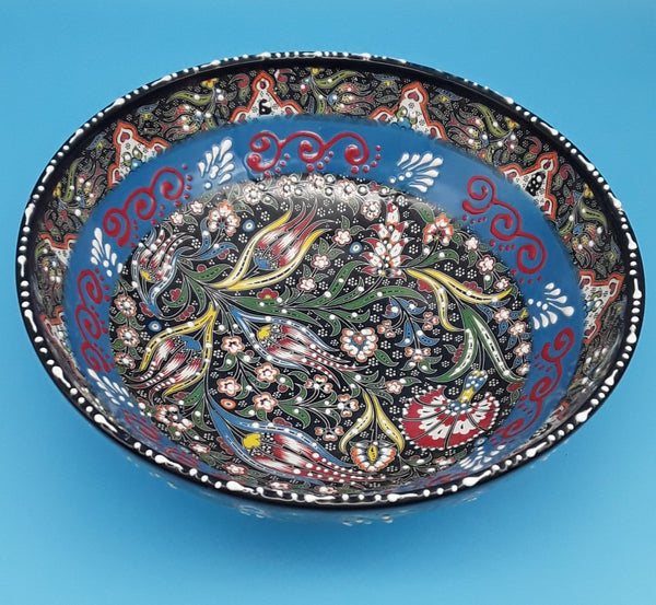 "10.5"" Large Bowl Turkish Ceramic, Hand Painted."