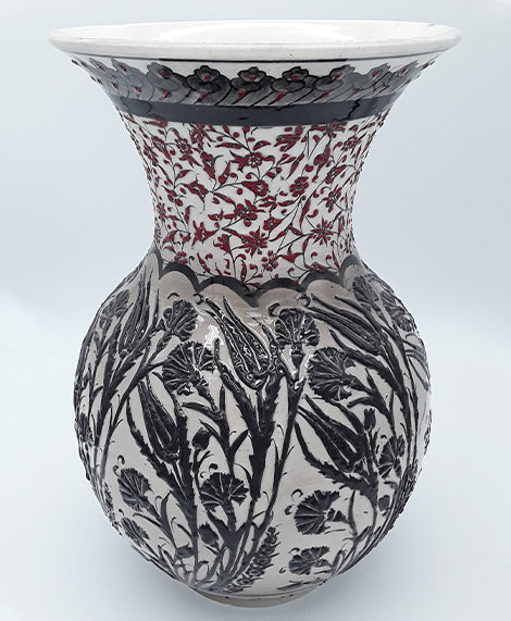 "13"" Turkish Ceramic Vase , Hand Painted"