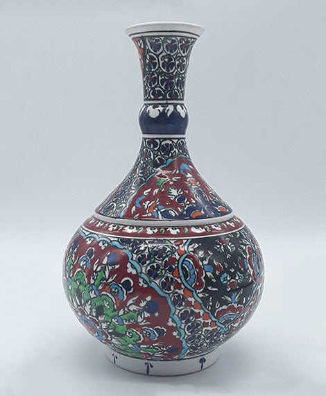 "8"" Turkish Ceramic Vase , Hand Painted"