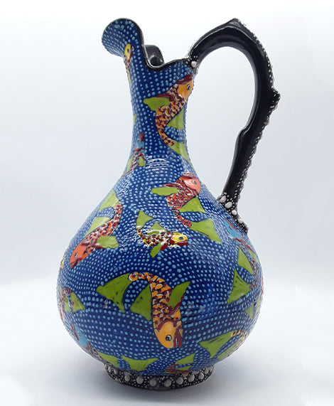 "12"" Turkish Ceramic Vase , Hand Painted"