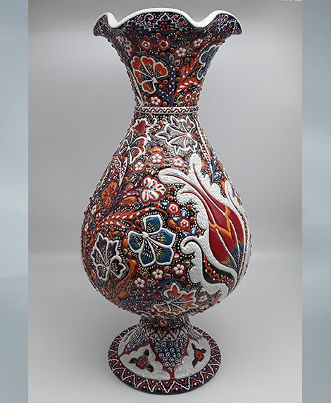 "17"" vase Turkish Ceramic, Hand Painted."