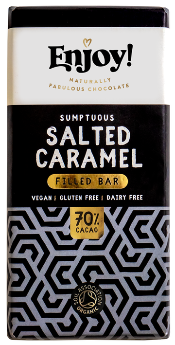 Enjoy Sumptuous Salted Caramel Organic Gluten & Dairy Free Vegan Chocolate Bar (70g)