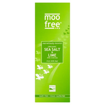 Moo Free Gluten & Dairy Free Vegan Marvellously Moreish Sea Salt & Lime Organic Chocolate Bar (80g)