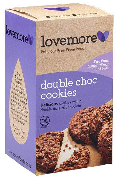 Lovemore Gluten & Dairy Free Double Chocolate Chip Cookies (150g)