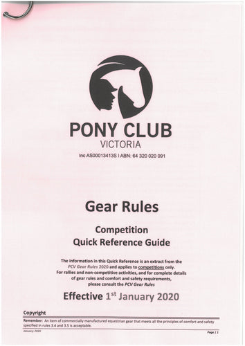 PCAV Gear Laminated Quick Reference