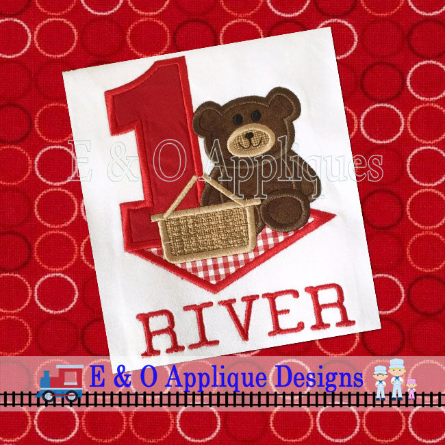 1 Picnic Bear Digital Applique Design