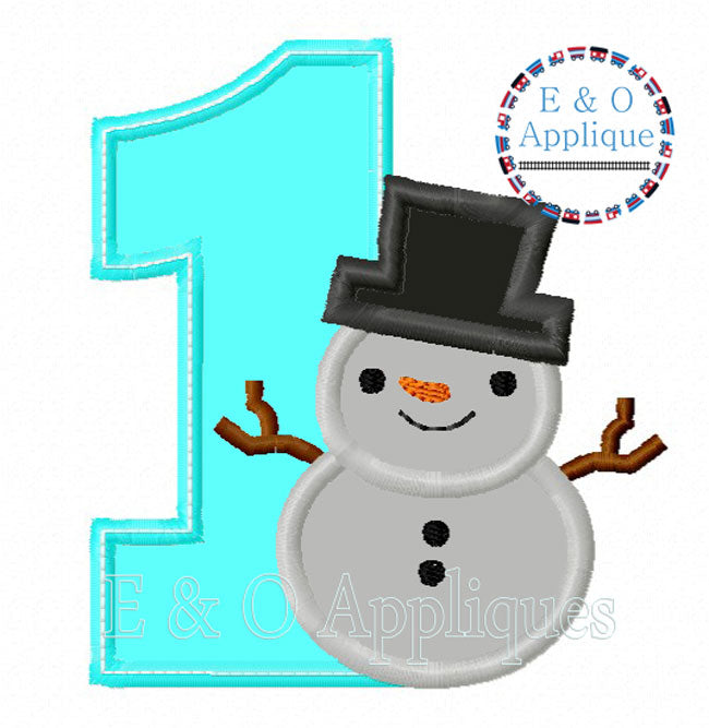 1 Snowman Applique Design