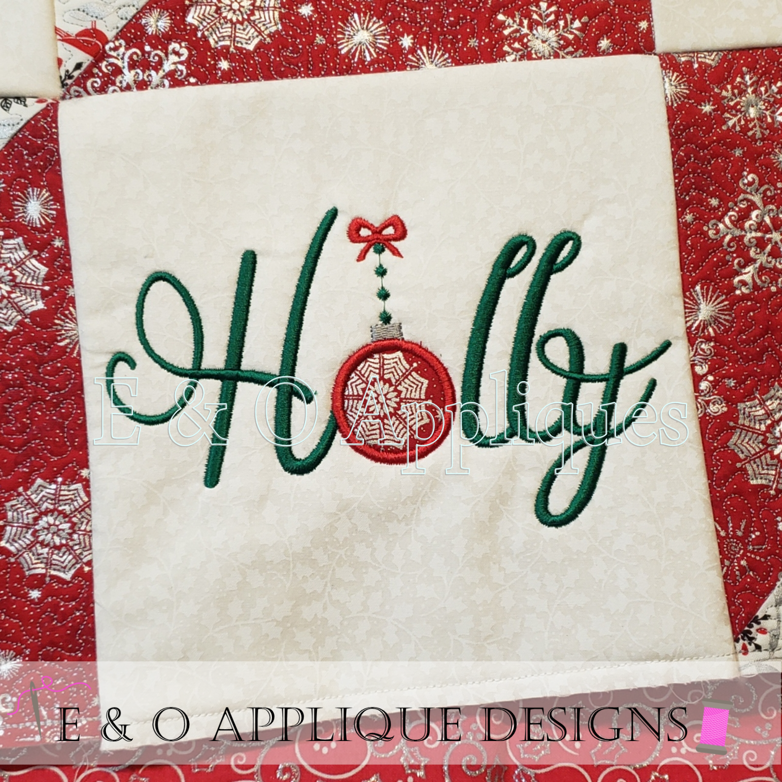 ITH Christmas Quilt Block Holly
