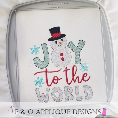 Joy To The World Snowman Embroidery Design